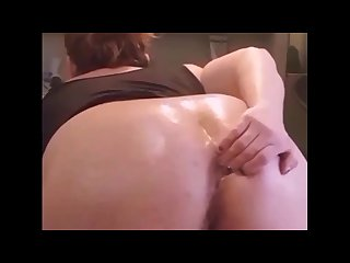 Pushing his creampie out of my tight asshole!