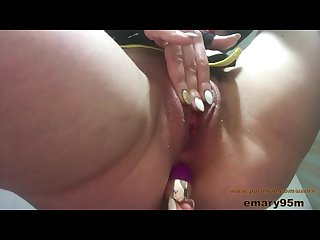Big clit huge labia meaty pink wet pussy rubbing with anal toy in my ass