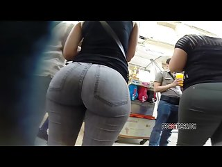 Bubble butt in grey jeans candid