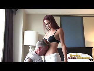Submissive slave must smell Belly button