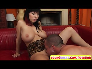 Juciy natural tits on a young brunette