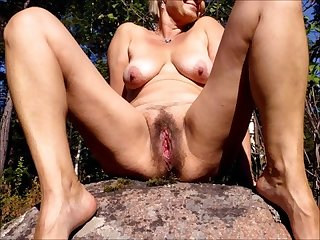 Ape wife S horny wet pussy just before sex outdoors