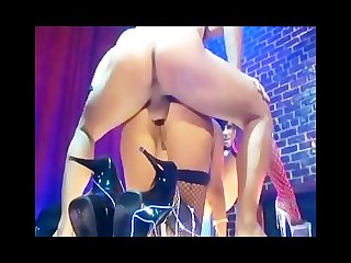 Brunettes on stage have a mff threesome in fishnet lingerie and H