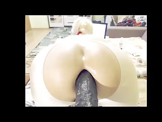 Blonde shemale gaping with big dildo queefing ass hole