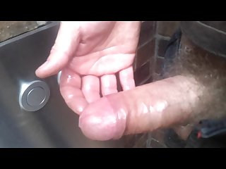 Uncut cum churning milky edging wank in public
