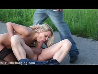 Pretty blonde public sex street gangbang