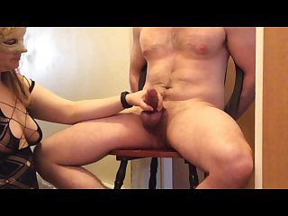 Locked chastity husband earns ruined orgasm while tied to chair