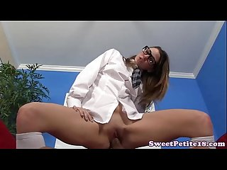 Teen schoolgirl with glasses rides dong
