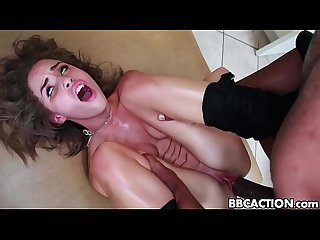 Petite girl gets fucked by huge black cocklack cock