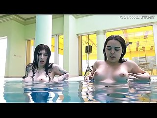 Hot Spanish and Russian teen in the pool naked