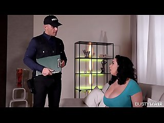 Busty lovers Anastasia Lux titty sucked and pussy fucked by police officer