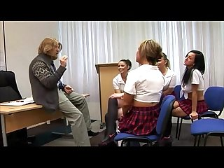 Cfnm schoolgirls jerk off their teacher who teaches history by the looks of him