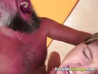 Petite girl fucked by big grandpa