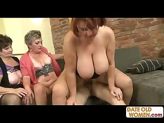 3 grannies on one cock