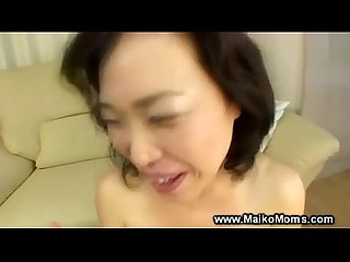 Japanese milf sucks cock then swallows cum