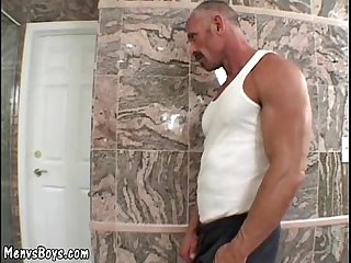 Muscled dad with thick mustache fucks raunchy boy