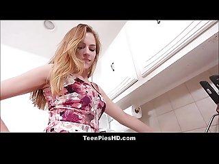Cute teen creampie from plumber