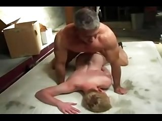 Dad bare fuck young smooth blond boy creamy ass