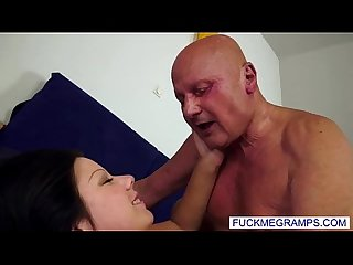 Busty young girl fucked by old pervert