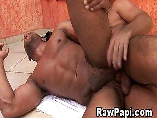 Latino gays sizzling bareback anal sex