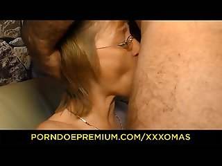 XXX OMAS - Horny German mature with glasses gets her sweet pierced pussy satisfied