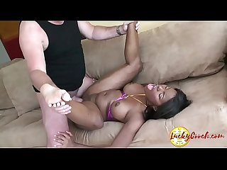 Slim latina Teeny likes to take on stiff white hard on till yoghurt on face