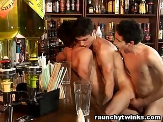 Teen boys hookup threesome sex at a bar