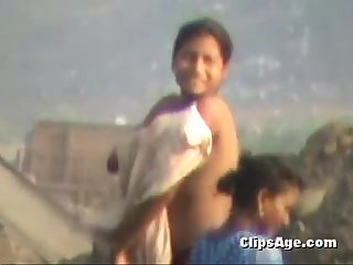 Girl bath in open desi farm