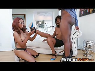 Ebony stepmom Misty Stone blows BBC before threeway