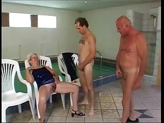 Granny piss and fuck at pool and sauna