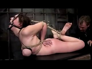 Busty Girl With Mouthgag Tits Bondaged Tied Arms Rubbing Cock Fingered On A Box In The Dungeon
