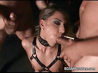 Very sexy babe in BDSM action where she