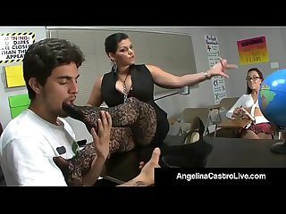 Cuban Teacher Angelina Castro Forces Roxanne To Do Foot Job!