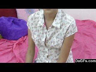 Brunette teen slut spreads for masturbation