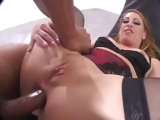 Sexy blonde is banged hard by a black guy