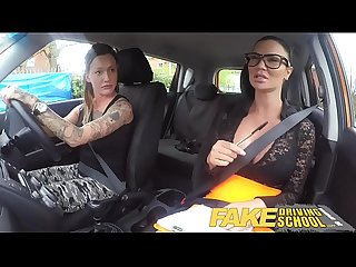 Fake driving school new driver gets a crash course in strap on lesbian fucking