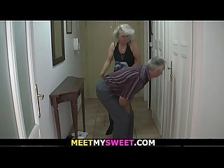 Old couple have fun with son S gf