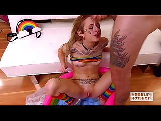 Cum and spit on teen blonde