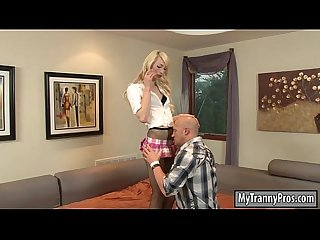 Skinny blonde teen shemale anal pounded by horny dude