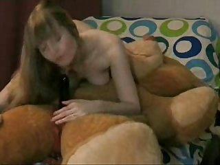 Teddy bear strapon oral with Anna