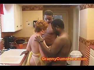 Granny slut fucked in her kitchen by bbc