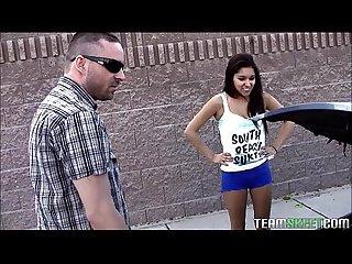 Petite latina teen stuffed with huge white cock