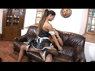 Massive dick dude fucks the mouth, asshole and cunt on sexy maid Defrancesca Gallardo