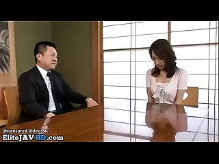 Japanese wife has sex with the boss of her husband