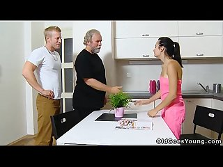 Old goes young sexy brunette lora and her man