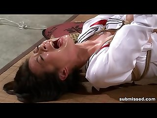Asian slave is hogtied, electro tortured and dildo punished