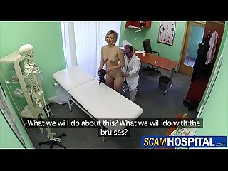 Blonde horny patient gets fucked by the pervy doctor in the table