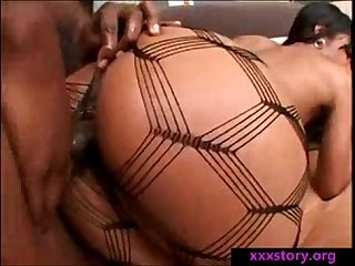 Ebony girl makes her man happy