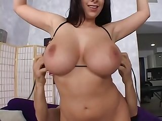 Big breasted deep throat brunette Gianna Michaels chokes on cock and rides a big dick after her..