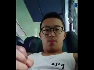 Specsaddicted taiwanese guy jerking off on bus
